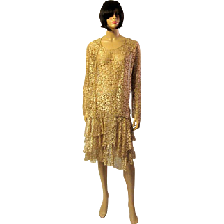 Lovely Art Deco, Ecru Lace Sleeveless Gown with Matching Jacket