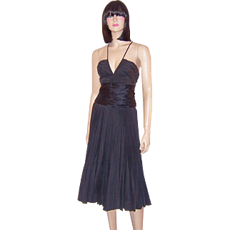 """Max Azria"" Black Silk Pleated Cocktail Dress"