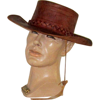 Men's Hand-Made and Hand-Tooled Leather Gaucho/Cowboy Hat from Honduras, Central America