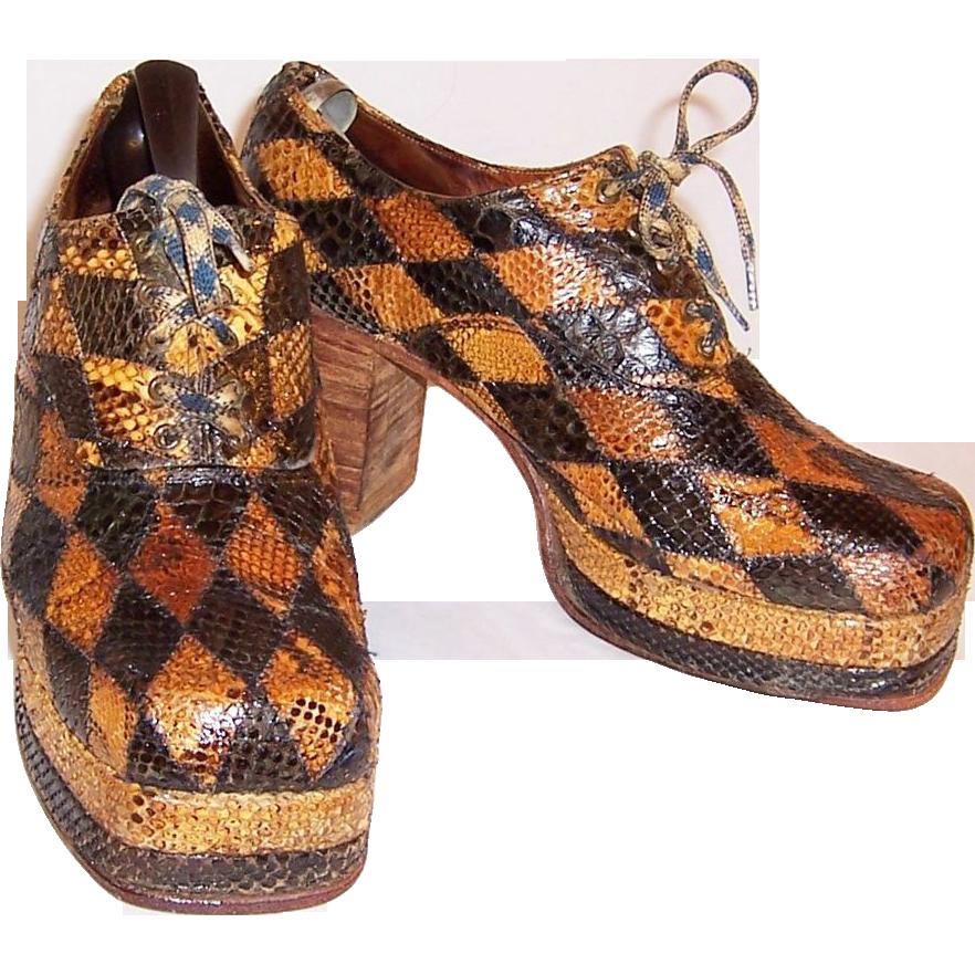 Men's 1970's Original Glam-Rock Band Snakeskin Platform Shoes