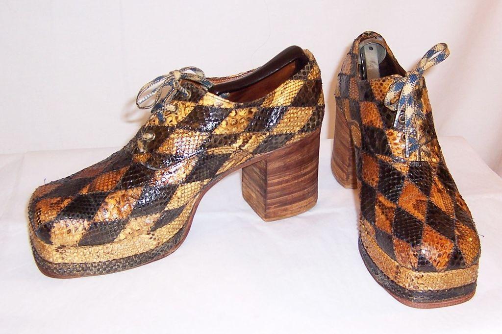 Men's 1970's Original Glam-Rock Band Snakeskin Platform Shoes from ...