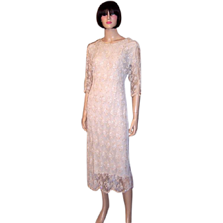 Oleg Cassini, 1970's Beaded, Sequined, and Lace Cocktail Dress