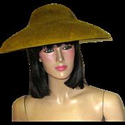 "Olive Green Picture Hat Labeled ""Replica de Parisienne"""