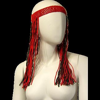 1960's-1970's Red and Black Glass Beaded Bohemian Headband