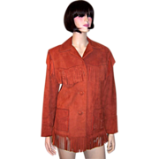 Sienna-Colored Suede Jacket with Fringe