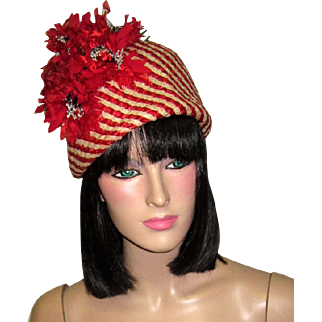 """Stunning """"Cleo Sims, New York""""-Red and White Striped, Sculptural Straw Hat with Red Florets"""