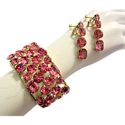 1960's Over-Sized Shocking Pink Rhinestone Cuff Bracelet and Earring Set