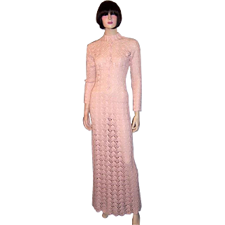 1960's Original Crocheted, Pale Pink, Floor Length Gown