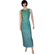 1960's Viridian Green Beaded and Sequined Gown-Made in Hong Kong