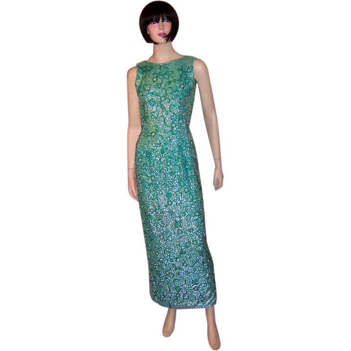 1960's Viridian Green Beaded And Sequined Gown-Made In
