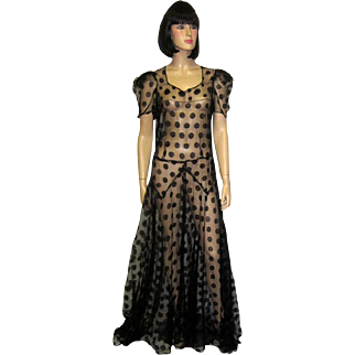 Late 1930's Fanciful Black Polka-Dotted Floor Length Gown on Fine Black Net