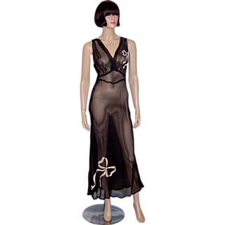 Sheer Black 1930's Negligee with Pink Bow Appliques