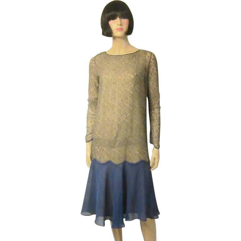 1920's Cobalt Blue Chiffon Dress with Gold Metallic Lace ...