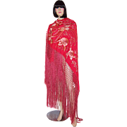 Early 20th Century, Red Canton Silk Embroidered Shawl