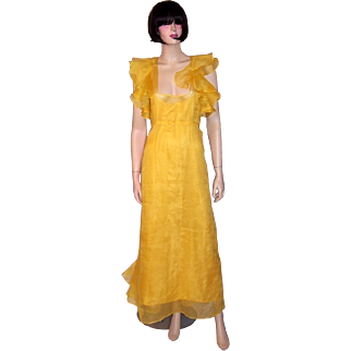 1930's Canary Yellow Organza Gown with Ruffles