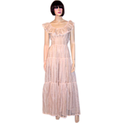 1930's Pale Pink Organdy, Embroidered Gown with Ruffled Collar