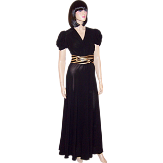 Thirties-Forties Black Crepe Gown with Gold Braided Belt