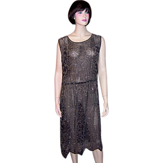1920's Black Chiffon Gown with Silver Beadwork and Silver Metallic Embroidery
