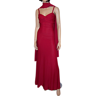 Elegant and Chic 1930's Crimson Red Gown with Wrap