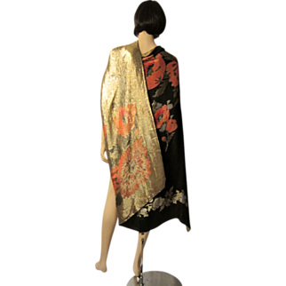 Magnificent 1920's Art Deco, Reversible, Black and Gold French Lame Shawl  with Red Oriental Poppies and Blue Flowers