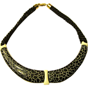 Trifari Choker with White Enamel and Crackled Resin Base
