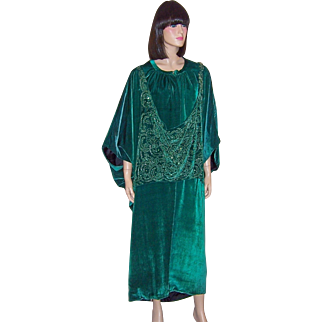 1920's Viridian Green Silk Velvet Cocoon, Beaded Coat-A Study in Orientalism
