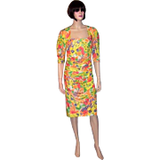 Ungaro Parallele Paris-Yellow Silk Floral Printed Dress with Ruching