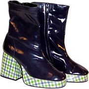 Tastyvogs by John Fluevog-Navy Patent Leather Platform Boots