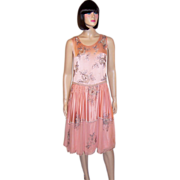 1920's Pink Silk Chiffon & Pink Charmeuse Floral Beaded Dress