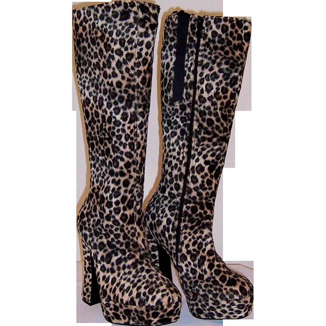 Faux Fur Leopard Platform Boots