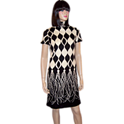 1960's Mod Black & White Shift Dress with Trompe-L'oeil Fringe
