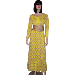 1960's Louis Feraud Yellow and Gold Metallic Maxi-Dress