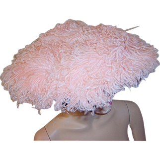 """1950's Saucer-Shaped Hat with Pink Ostrich Feathers by """"Lora"""""""
