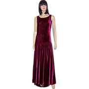 Luscious Deep Red Raspberry, Silk Velvet, Floor Length Gown