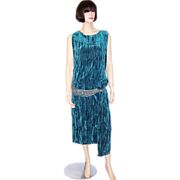 Early 1920's Turquoise Crushed Silk Velvet Gown with Beaded Waist