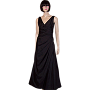 Black Sleeveless Floor Length Gown with Ruching