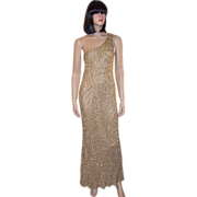 Sleek, Sultry,  Silk Champagne-Colored Halston II Beaded Evening Gown