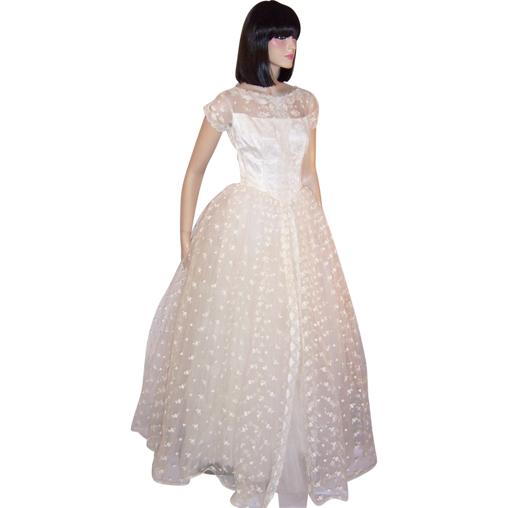 1950's White Lace And Embroidered Tulle Floor Length Gown