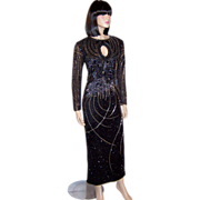 Black Beaded Long Gown with Silver, Black, & Blue Glass Beadwork