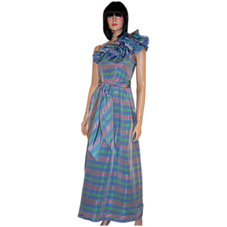 B. Altman & Co.-Periwinkle Blue Ruffled, One-Shoulder Striped Gown