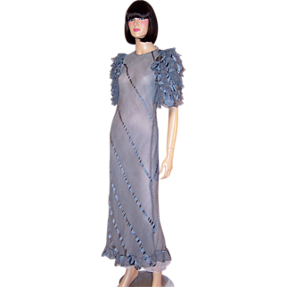 1930's Periwinkle Blue Evening Gown with Ruffled Sleeves