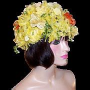 1960's Custom-Made Hat by Ja Lee-N.Y. with Yellow & Orange Flowers