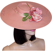 Depression Era-Pink Wool Felt Platter Hat with Rose Blossom