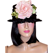 Early 1960's Black Straw Bucket-Style Hat with Large Rose Blossom