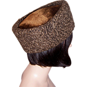 Unusual Brown Persian Lamb Hat with Trapunto Lining