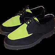 Buffs by Buffalino-Men's Chartreuse & Black Suede Shoes