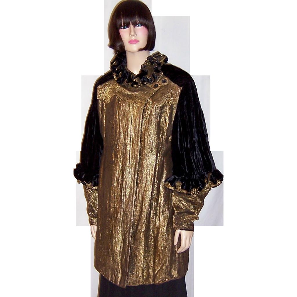 Art deco black silk velvet amp gold french lame opera coat from