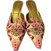 Vintage Pink Asian Slip-Ons