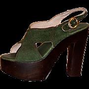 Distinctive 1970's Green Suede  & Wood Platform  Shoes