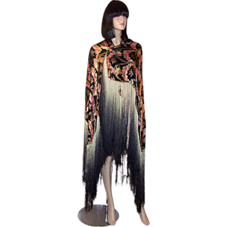 1920's French Floral Lame Shawl with Ombre Fringe